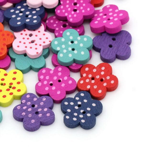 100PCs Mixed Wooden Buttons Sewing Scrapbooking Flower Dots 15x14mm