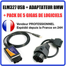 Interface ELM327 USB + ADAPTATEUR BMW 20 PINS - Valise DIAG Multimarques OBD2 -