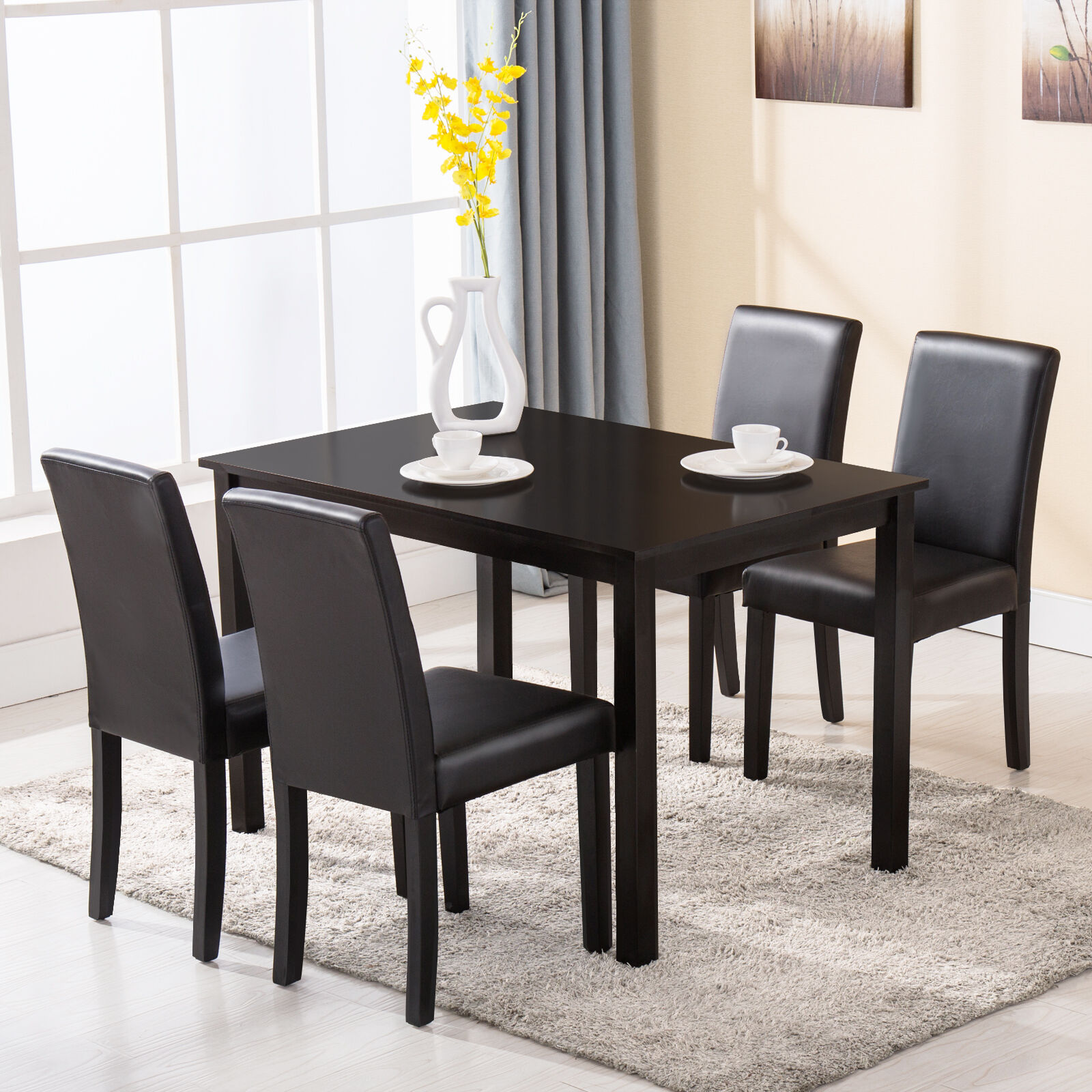 5 piece dining table set 4 chairs wood kitchen dinette for Four chair dining table set