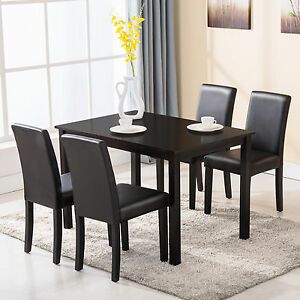 Image is loading 5-Piece-Dining-Table-Set-4-Chairs-Wood- & 5 Piece Dining Table Set 4 Chairs Wood Kitchen Dinette Room ...
