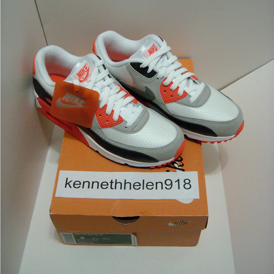 NOUVEAU 2015 NIKE AIR MAX 90 OG BLANC INFRAROUGE COOL GREY BLACK 725233-106 HOMMES SZ 9