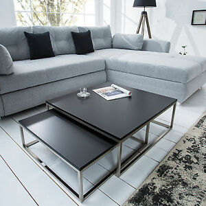 Design couchtisch 2er set big fusion matt schwarz chrom for Design couchtisch 2er set big fusion vintage look schwarz