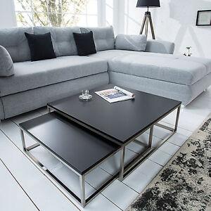 design couchtisch 2er set big fusion matt schwarz chrom geb rstet beistelltisch ebay. Black Bedroom Furniture Sets. Home Design Ideas
