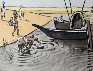 Pierre CASTAGNEZ (1898-1951) Jeunes femmes Bamako gravure sur bois Mali Afrique