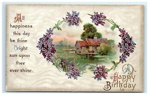 Postcard-A-Happy-Birthday-Greeting-Card-Purple-Flowers-Cottage-Embossed-H25