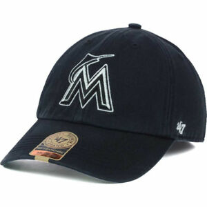 first rate 9ead9 a991e Image is loading Miami-Marlins-039-47-Brand-MLB-Black-Out-