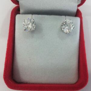 2-00-Karat-Runde-Solitaire-Diamant-Ohrringe-14K-Punziert-Weiss-Gold-Zertifiziert