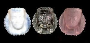 Boyd-Art-Glass-Set-Of-Three-Indian-Head-Toothpick-Holders