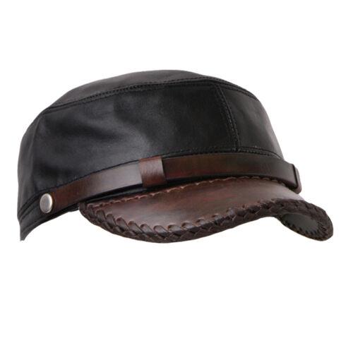 GENUINE LEATHER cap military hat biker rider motorcycle H26 BIKELIST