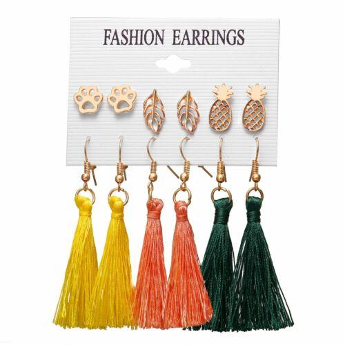 6 Pairs//Set Boho Tassel Crystal Pearl Earrings Set Women Ear Stud Dangle Jewelry