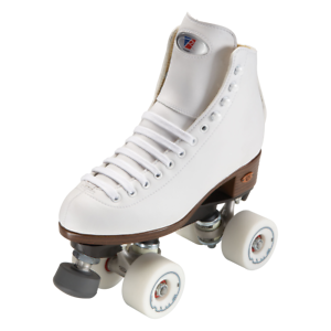 Riedell-111-women-039-s-White-Angel-Roller-Skate-package-96a-Rink-setup