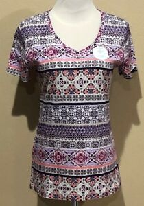 NWT-Womens-Purple-Print-Croft-amp-Barrow-V-Neck-Short-Sleeve-Classic-Tee-Small