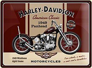 Harley-Davidson-Panhead-GRANDE-GOFFRATO-INSEGNA-acciaio-400mm-x-300mm-NA