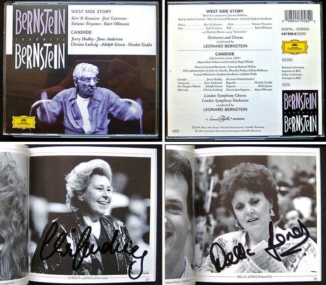 Christa LUDWIG, Della JONES Signed EBERNSTEIN West Side Story + Candide CARRERAS
