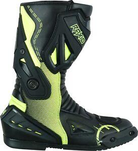 Motorcycle-Waterproof-Motorbike-Leather-Boots-Sport-Racing-Mens-Touring-Fluro
