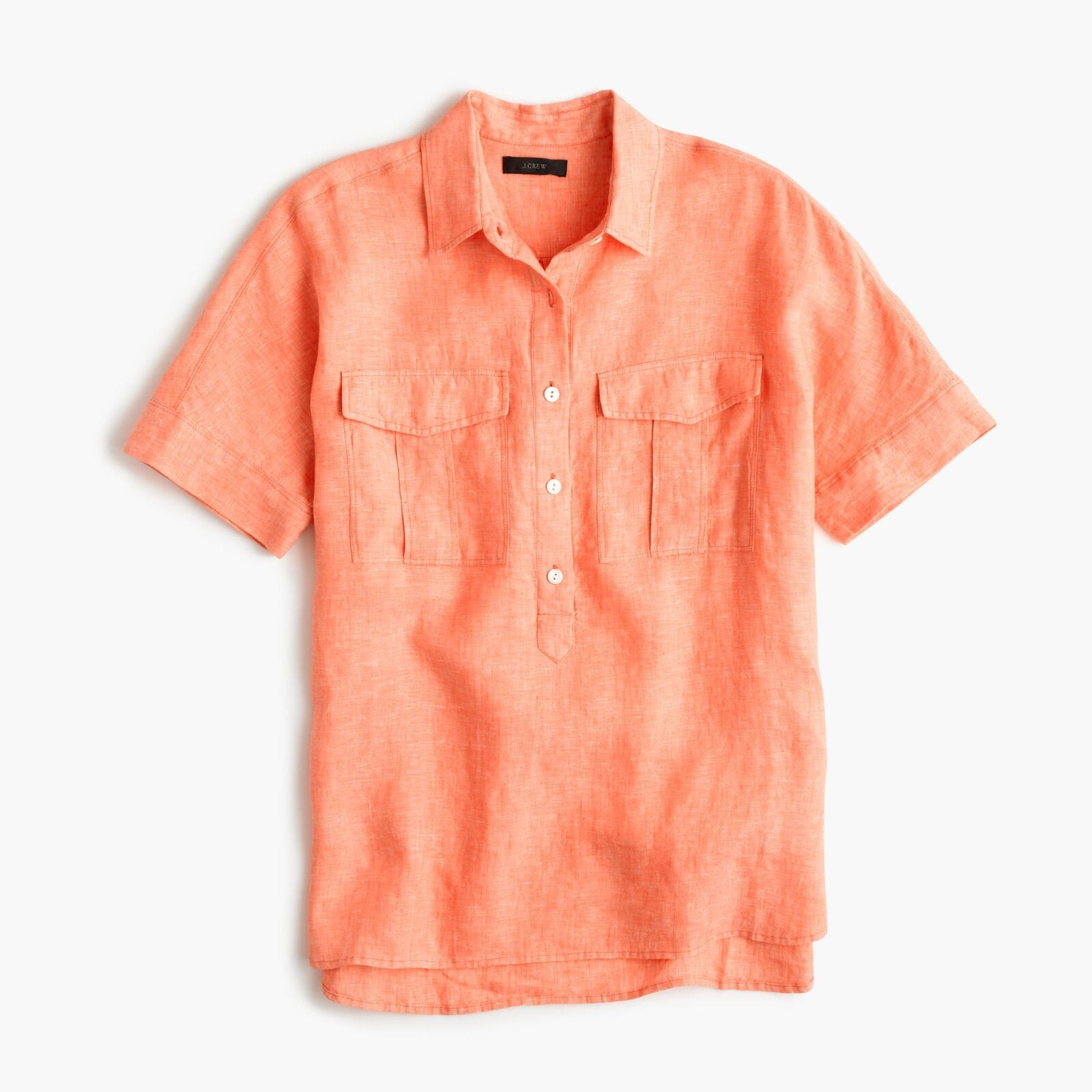 NEW J.CREW Short-sleeve popover shirt in Irish linen Sz 6T Golden Rosa Coral Top
