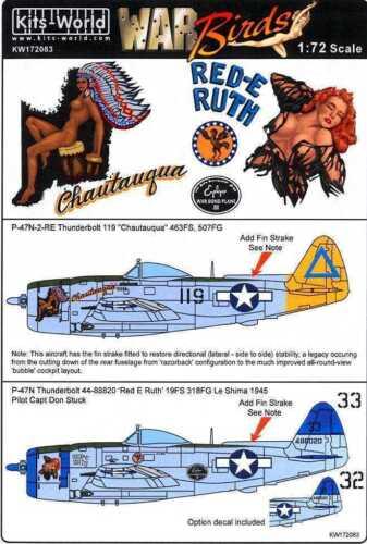 Kits World 172083-1:72 Republic P47N-2-RE Thunderbolt Decalset Neu