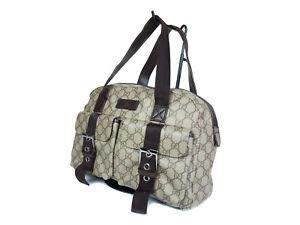 cfd28ae2e29e Auth Gucci GG Web PVC Canvas Leather Browns Shoulder Bag UGS0038 | eBay
