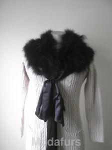 Kvinders Stole Wrap Ostrich Cape Superb Black Fur aqwrAaI