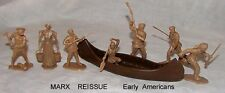 Marx reissue early American figures + canoe toy soldiers in tan or yellow