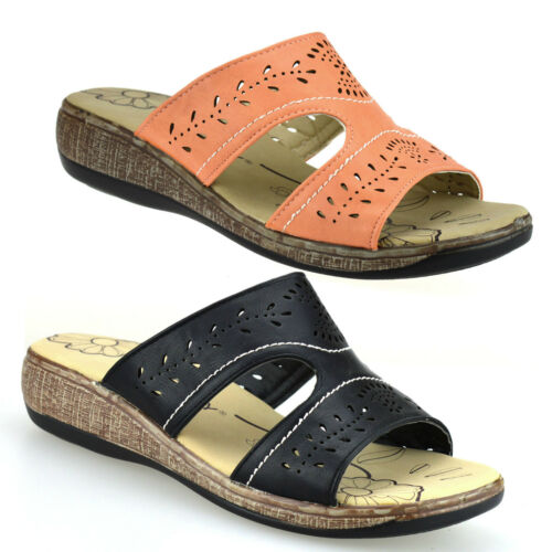 Ladies Womens New Low Wedge Heel Casual Summer Slip On Mules Sandals Shoes Size