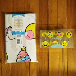 Image Is Loading NWT Justice Girls Emoji Shower Curtain And Hooks