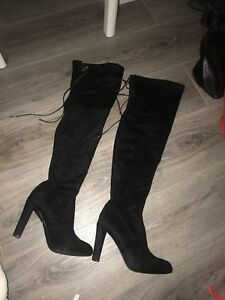 4fb15a0fa18 Image is loading Carvela-black-over-the-knee-boots-size-4-