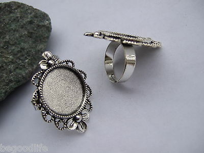 5pcs Antique Silver Alloy Adjustable Ring Base Blank Settings 20mm Findings