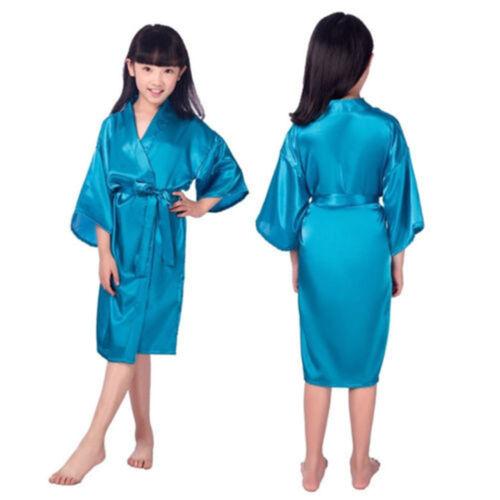 Kid Silk Satin Kimono Robes Bathrobe Sleepwear Wedding Flower Girl Night Dress!!