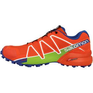 Salomon-Speedcross-4-Men-039-s-Trail-Running-Shoes-red-blue-green-390723
