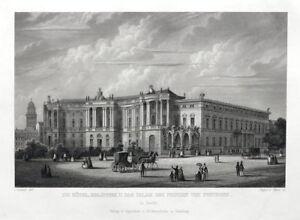 Berlin-Koeniglische-Bibliothek-Grosser-originaler-Stahlstich-um-1860