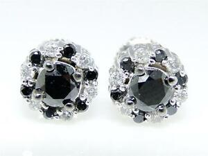 10K-White-Gold-Black-Diamond-8-MM-Solitaire-Halo-Cluster-Stud-Earrings-1-Ct