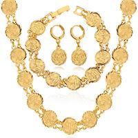 Islamic Allah Necklace Bracelet Earrings Muslim Jewelry Set Gold/ Platinum Plate