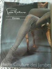 Pierre Mantoux Couture Tights M NWT Gray  Black Rib COTTON  France sz ii