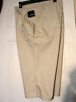 Basic Editions Capri Pants Womans 24w Beige With Studs/scroll Pockets