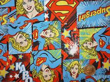 SUPER GIRL tessuto di cotone/Fat Quarter FQ CARTOON/Retrò/kitsch/Craft/cartoni animati