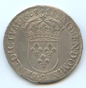 Louis XIV (1643-1715) ECU With Wick Long 1653 Rennes