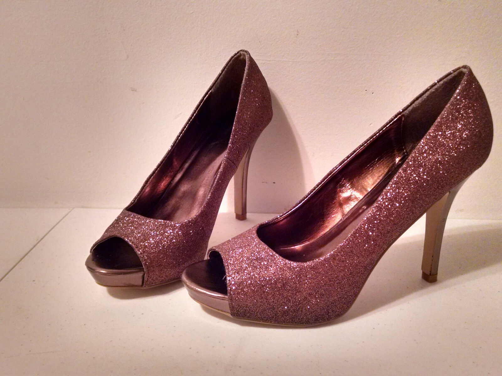 WOMENS BRONZE Mylie Brown GLITTER SIZE LAVA HIGH HEEL SHOES SIZE GLITTER 10B 5e9cef