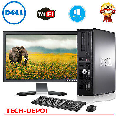 "FAST Dell Desktop PC Computer Core 2 Duo 4GB Ram DVD WiFi & 19"" LCD WINDOWS 10"