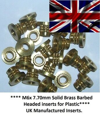 M6 X 8.70mm Solid Brass Threaded Press-in Inserts For Plastic, Press-fit Inserts