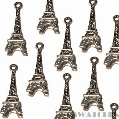 10 FRENCH EIFEL TOWER ANTIQUE SILVER CHARM PENDANTS BEADS SIZE 24mmx8mm TS51