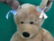 BIG BROWN BUILD A BEAR PUPPY DOG PINK PURPLE BOW PLUSH STUFFED ANIMAL TOY PUP