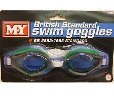 Childrens Swimming Goggles Blue Lenses British Standard Swim Goggle New