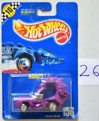 HOT WHEELS 1990 - 1991 BLUE CARD RODZILLA #156 PURPLE