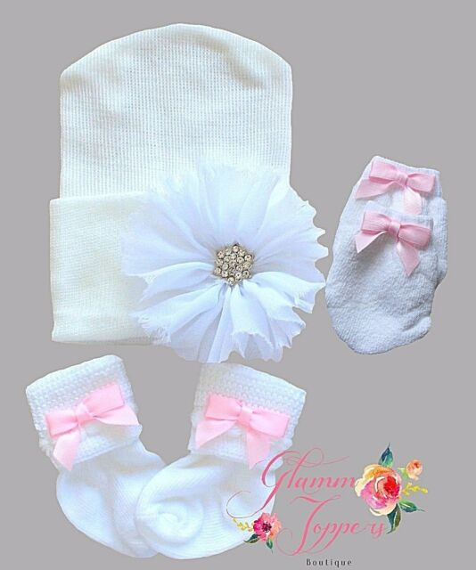 2a959cd2ce1 Newborn Infant Hospital Baby Girl Beanie Set Hat Socks and Mittens ...