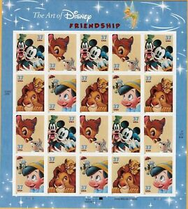 The-Art-of-Disney-Friendship-Sheet-Twenty-37-Cent-Stamps-Scott-3865-68-By-USPS