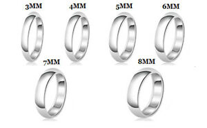 Sterling-Silver-925-Solid-Couples-Plain-Comfort-Fit-Wedding-Band-Promise-Ring
