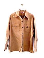 Vintage LEVIS Original BIG E Denim Work Shirt Jacket Western Extra Large XL Tan