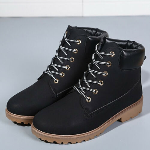 Women/'s Leather Low Heel Martin Boots Combat Military Ankle Lace-Up Shoes Casual