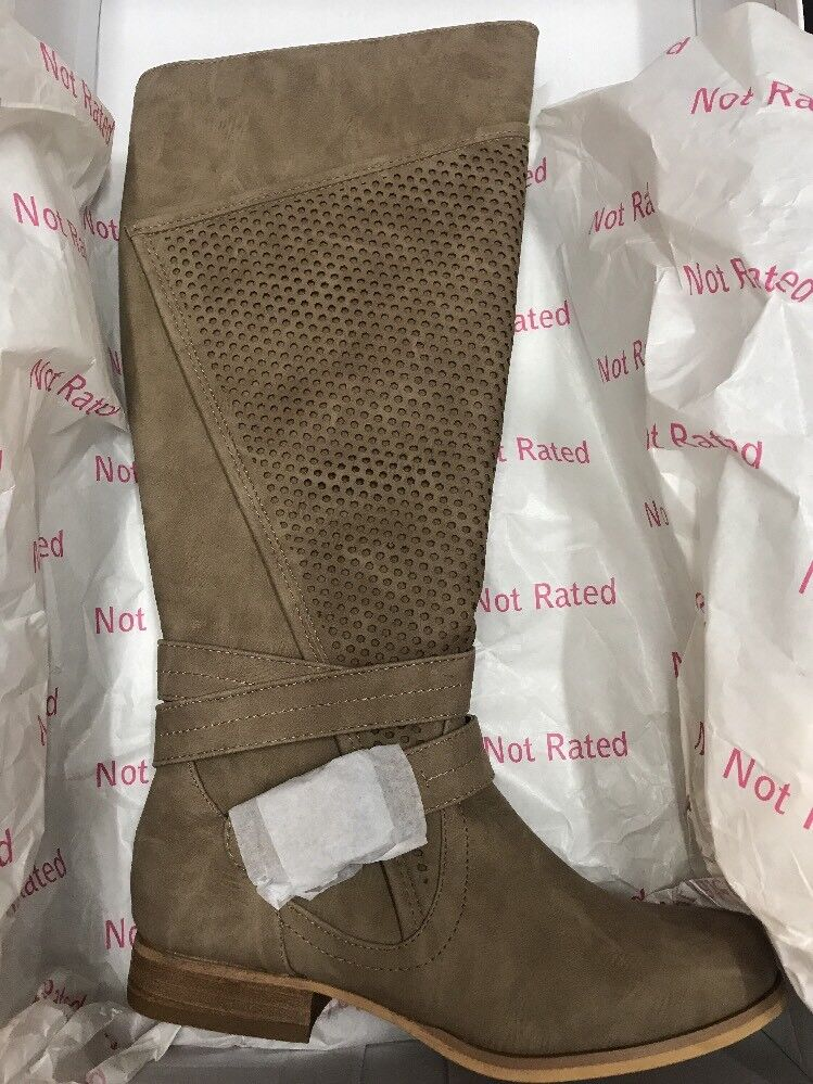 Not Rated Wind Zone Cream Knee High Boots Round Toe NEW